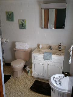 The bathroom is comfortable and roomy.