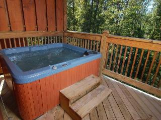 Hot tub on the cabin's deck
