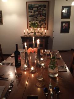 Set for a candlelit dinner