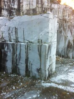 Chunks of marble in the mountains near the villa