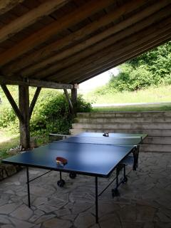 covered patio with table and pingpong.