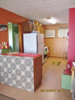 Kitchen area, stove/oven, frig, microwave, toaster oven, etc.