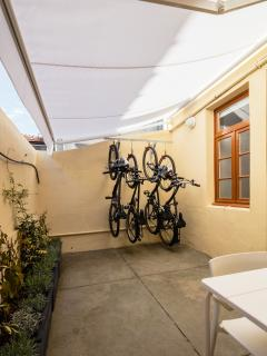 terrace with 4 bicycles