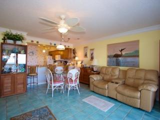 Comfortable furnishings, fun decor, clean tile floor
