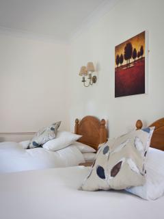 A standard twin en-suite room on the ground floor.