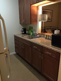 This  beautiful extremely clean kitchen has all you will need on your stay .