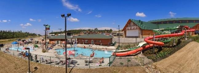 3 Bears Lodge outdoor pool. Walking distance. Purchase wristbands at hotel desk.