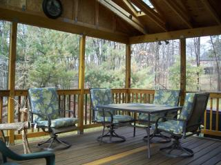 Screened in porch w/seating for 8, grill on the side, 3 steps down to the yard