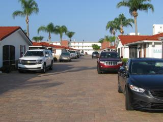 View from front of our villa toward the beach.  New pavers replaced blacktop.