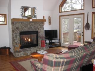 Living room, fireplace, 39' TV