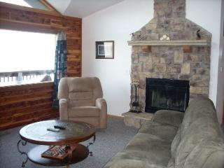 Upstairs livingroom has a wood burning fireplace!