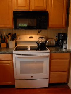 GE 5 burner cooktop with convection oven.