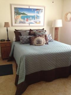 Downstairs Bedroom with Queen bed - linens updated regularly.