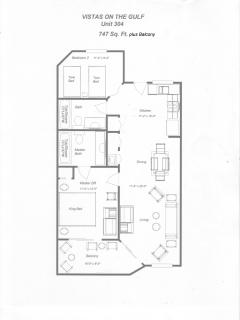 Floor plan of 2 bedroom 2 bath unit with full kitchen, washer/dryer, living area