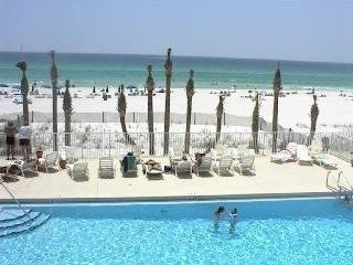 Pool on the beach for Gulf Highlands guests with restaurant & store