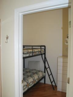 Twin Bunks next to master bathroom