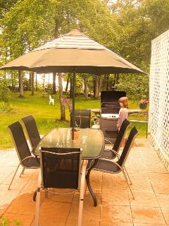Outside patio and gas grill