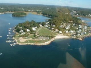 Aerial view of community w/beach and ballfield