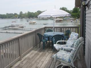 large deck overlooking water-2 bedroom