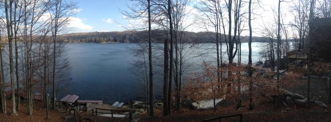 View from deck of Roamingwood Lake, Private dock with sandy beach &kayak/canoe