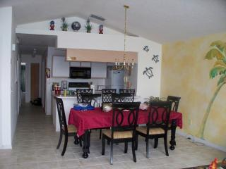 Dining room with new floor and wall decoration