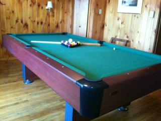 The 8-foot pool table w/ picture window looking out to the lake.
