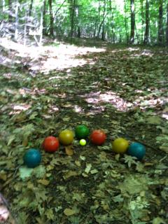Bocce ball on a woodland court.  Now, a new game of horseshoes as well.