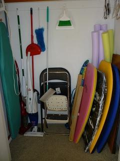 Boogie boards, swim noodles, vacuum and ironing board/iron