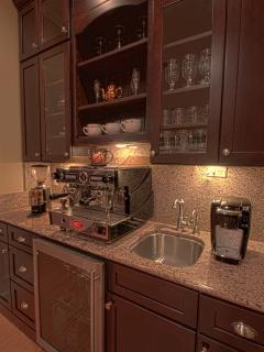 Separate Coffee / Beverage Bar w/ Granite Counters & under counter Refrigeration
