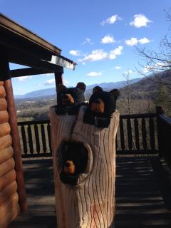Our newest chainsaw carving from a tree we had to cut. What a view!!
