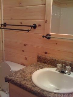 Hall Bath has shower/tub with handicap bars