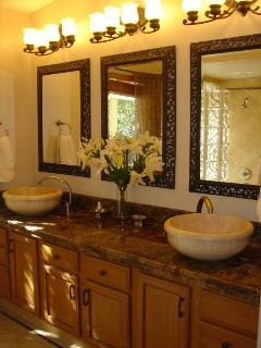 Luxurious Master Bathroom w/ Marble and Travertine