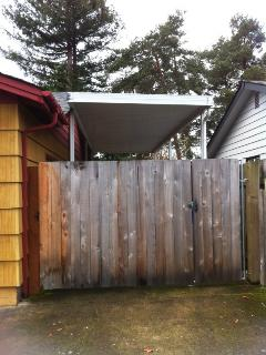 Gate can swing out to accommodate RV or Boat parking.