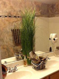 main bath, dual sink & mirror mounted dryer.
