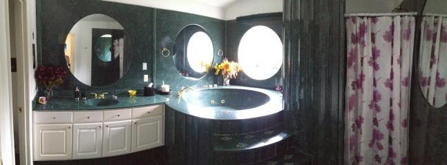 panorama of bathroom - left toilet area door - sink - jacuzzi - walk in shower