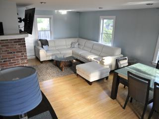 Open Living Room & Dining room with 55' TV and stereo.