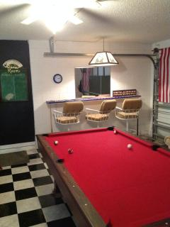 Pool Table looking towards Countertop & Stools