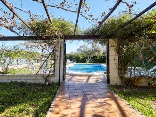 terraza y entrada piscina vallada y con puerta de seguridad para niños
