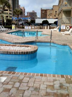Lazy River and Pool on premises, hot tub on far end