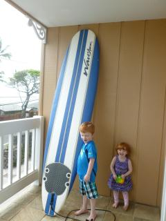 Surf board in unit for our guests
