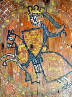 King John with no lands - 13th century painting found during the house renovations.