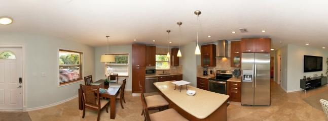 Wide View of the Front Rooms - Foyer, Dining.Kitchen and Living Room Areas