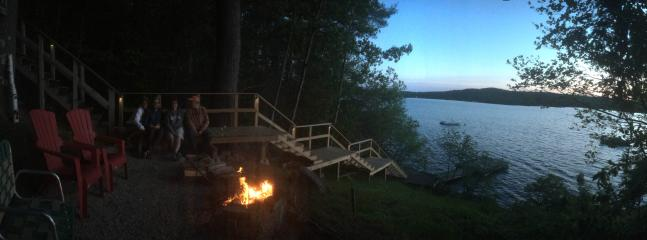 plenty of seating, fire pit area, stairs to waterfront and new docks 2016