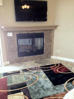 Big screen, fireplace or lake view...you decide.