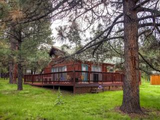 Serene 3BR Ruidoso Cabin w/Private Wraparound Deck & Gas Log Fireplace - One Level, Easy Access Year-Round! Close to Golf, Fishing, Snow Sports & More