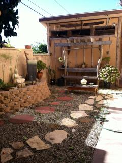 partial view of private meditation garden for guest apartment
