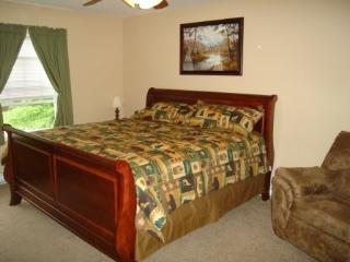 Master Bedroom - King bed, on suite full bathroom, 27in TV, Ceiling fan and nursery