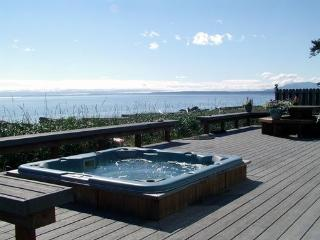 Enjoy shorefront views and sounds from the hot tub