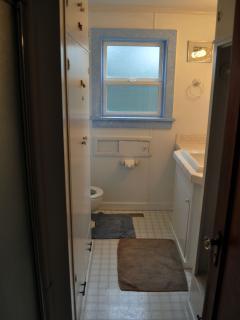 Shower bathroom, on main level. There's a half bath upstairs.