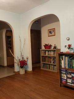 Open floor plan with mid -century charm and hardwood flooring.